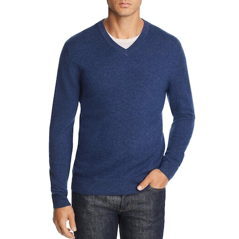 Bloomingdales Mens Cashmere V-Neck Sweater Small S Pacific Blue