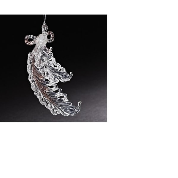 "5.5"" Clear and Silver Feathers with Sparkling Glitter Accents Christmas Ornament"