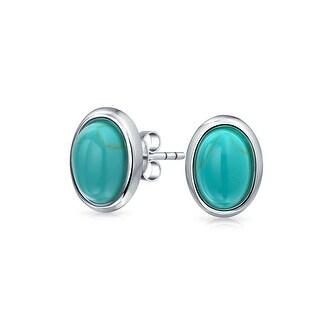 Bling Jewelry Bezel Set Oval Imitation Turquoise December Birthstone Stud earrings 925 Sterling Silver 30mm - Blue