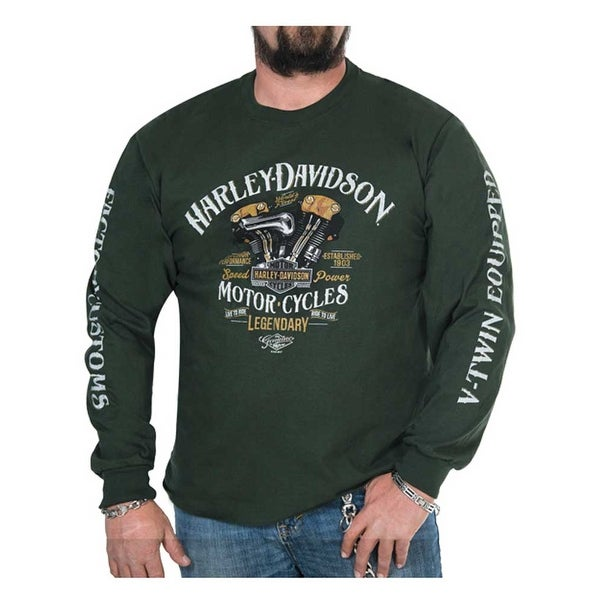 Harley-Davidson Men's Righteous Crew-Neck Long Sleeve Shirt - Forest Green