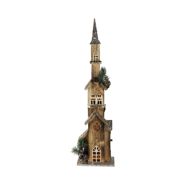 """27.5"""" LED Lighted Multi Level Brown Wooden Church Christmas Decoration"""