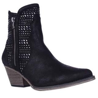 MIA Joaquin Jewel Studded Western Ankle Booties, Black
