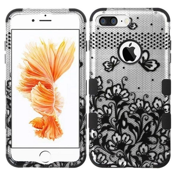 Insten Lace Flowers Tuff Hard PC/ Silicone Dual Layer Hybrid Rubberized Matte Case Cover For Apple iPhone 7 Plus