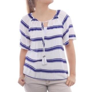 Ella Moss Anabel Stripe Tassel Top Short Sleeve V-Neck Blouse Women Regular