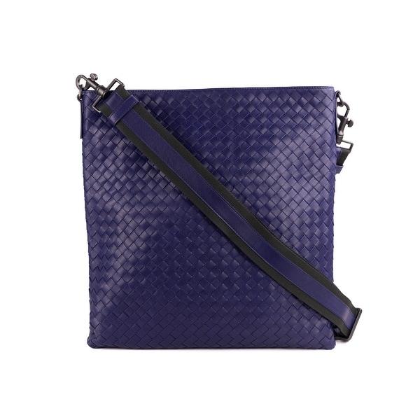 e01088e4a4d1 Bottega Veneta Navy Blue Intrecciato Calf Leather Large Messenger Bag