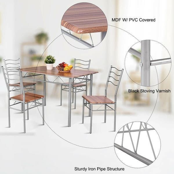 Shop Costway 5 Piece Dining Table Set Wood Metal Kitchen ...