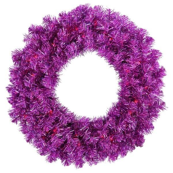 """36"""" Purple Wreath 100Purple Lts 320T"""