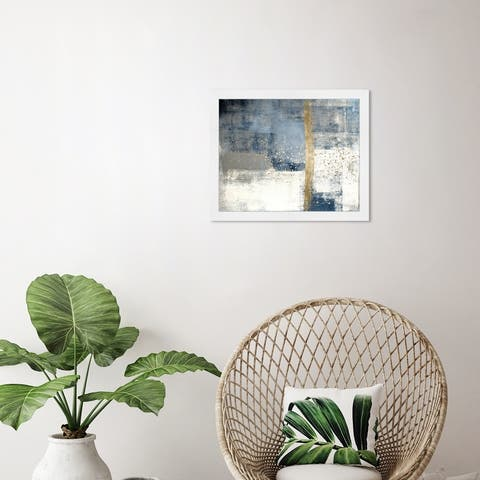 Oliver Gal 'In The Mid Summer' Abstract Framed Wall Art Prints Paint - Blue, White