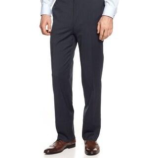 Alfani Black Label Regular Fit Striped Dress Pants Navy Blue 32 x 30