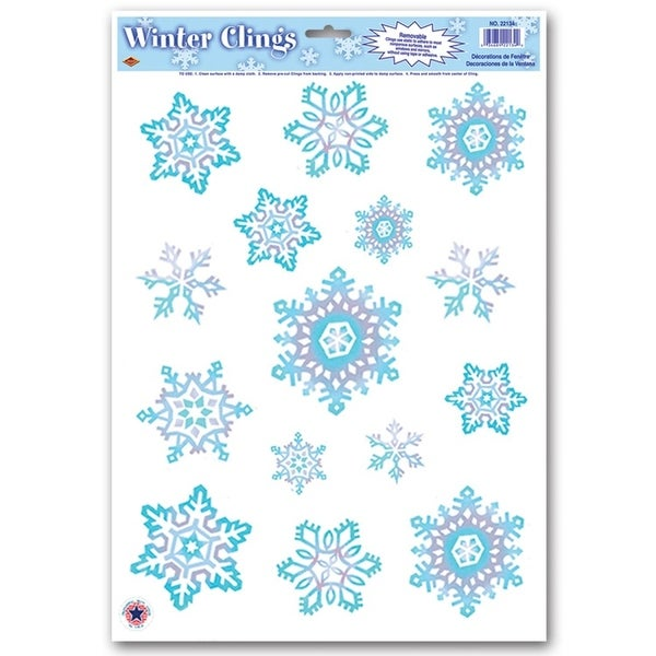 "Club Pack of 180 Crystal Snowflake Window Cling Christmas Decorations 17"" - BLue"