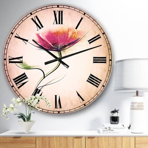 Designart 'Vector Watercolor Floral Design' Floral Large Wall CLock