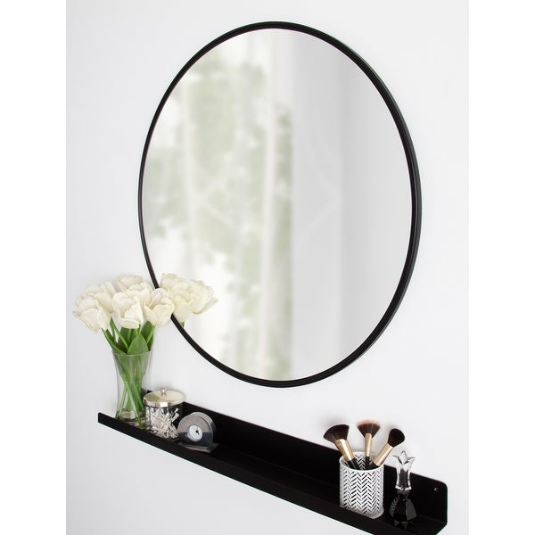 """Kate and Laurel Caskill Round Framed Wall Mirror - 30"""" Diameter. Opens flyout."""