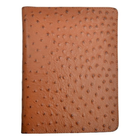 3D Western Bible Cover Ostrich Print Pocket Zip Closure Tan - One Size