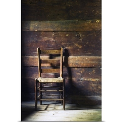 Poster Print Entitled Ladderback Chair In Empty Room, Mountain Farm Museum,  Great Smoky Mountains
