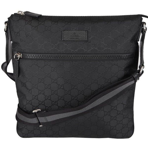 9bed5c9e03f Gucci 449185 Black GG Guccissima Web Trim Crossbody Messenger Purse Bag