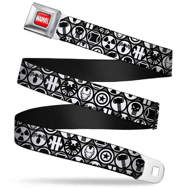 Marvel Universe Marvel Full Color Red White Marvel Avengers Superhero Logos Seatbelt Belt