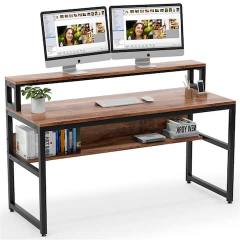 "55"" Computer Desk with Shelves and Monitor Stand"