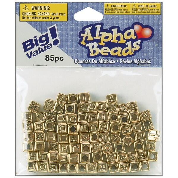Alphabet Beads 6mm 85/Pkg-Gold-Plated - GOLD