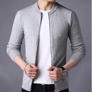 Mens Round Neck Zip Up Cardigan in Gray - Gray - XS