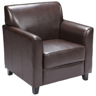 Brielle Brown Leather Office Reception/Guest Chair w/Flared Arms