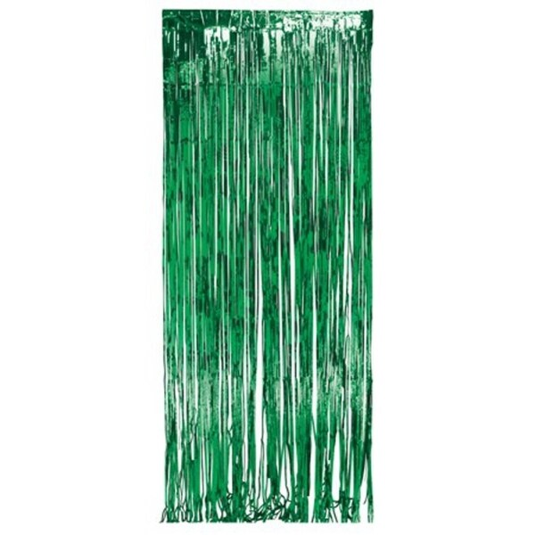 Pack of 6 Dazzling Green Metallic Foil Christmas Hanging Door Fringe Decorations