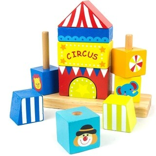 Wooden Circus Block Geometric Stacker Shape Tower Educational Toy for Kids