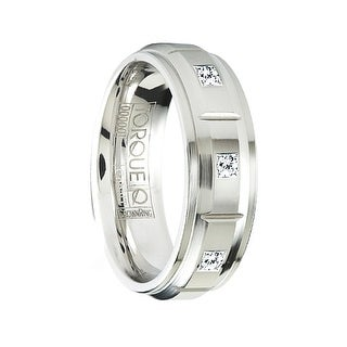 KABAL Grooved Raised Center Cobalt Wedding Ring with Diamonds & Step Edges by Crown Ring - 7mm (Option: 7.5)