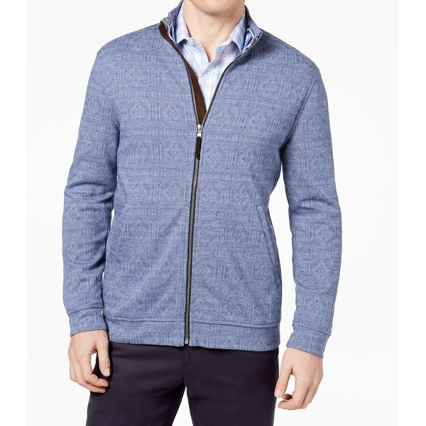 Tasso Elba Mens Large Full-Zip Geometric Print Jacket