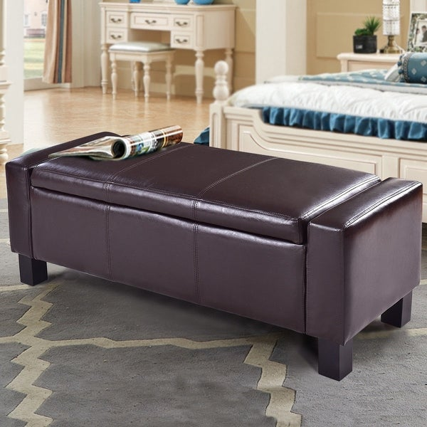 Solid Wood Bench Sofa Couch Storage Chest Furniture: Shop Costway PU Leather Ottoman Bench Storage Chest