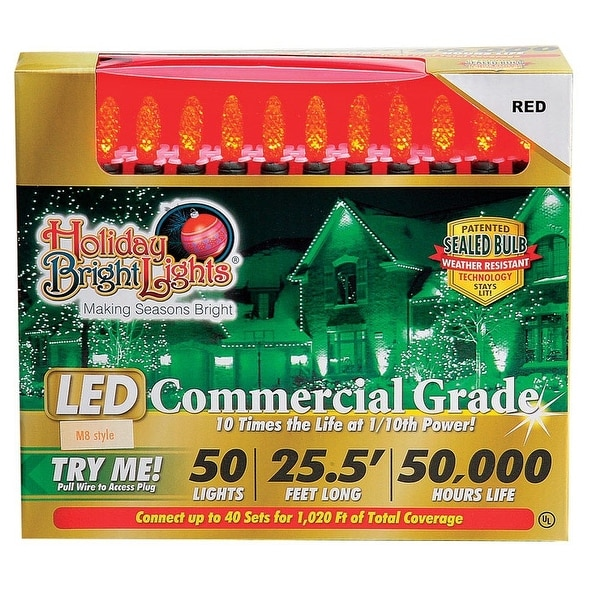 Holiday Bright Lights LEDBX-M850-RD6 M8 LED Commercial Light Set, Red, 50 lights
