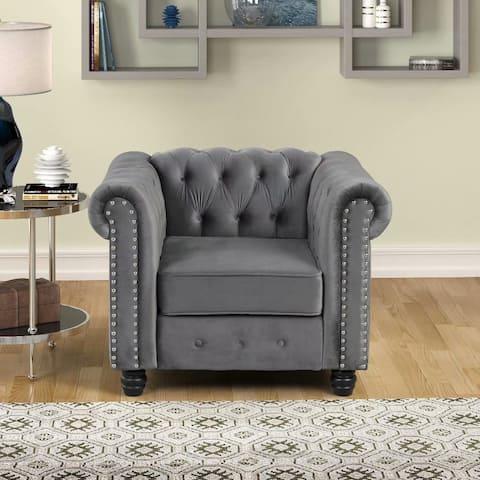 Morden Fort Tufted Upholstered Chesterfield Arm Chair for Living Room, Chair Fabric, Velvet