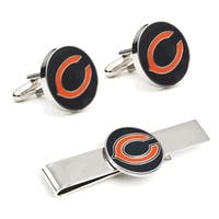 Chicago Bears Cufflinks and Tie Bar Gift Set NFL - Silver