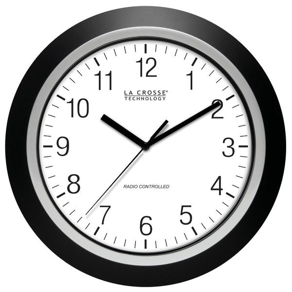 La Crosse 404-1236 Analog Atomic Black Frame Wall Clock, 13.5""