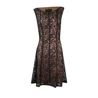 Connected Women's Petite Lace Fit & Flare Lace Dress - Black/gold