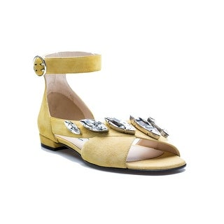Prada Women's Strapped Jeweled Yellow Suede Flat Shoes - 6