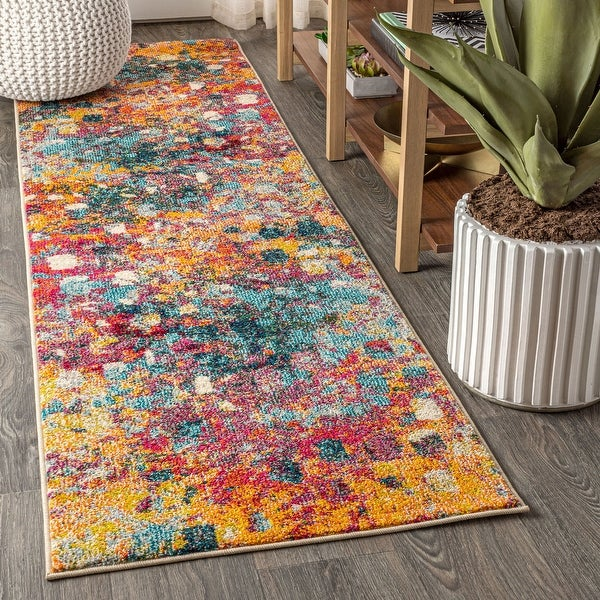 Contemporary Pop Modern Abstract Multi Yellow Area Rug Overstock 27416355