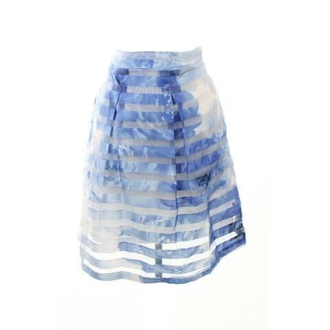 Inc International Concepts Blue Illusion-Stripe Pleated Skirt 16