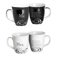 Mr. and Mrs. Coffee Mugs - Stoneware - 16 Ounce - Set of 2
