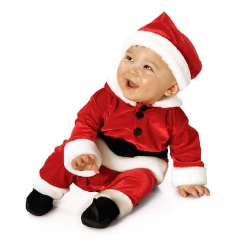 Velvet Santa Suit Baby Child Costume - Red