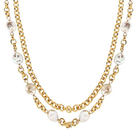 "BRONZORO 18 k Gold Over Bronze 26"" Double Strand Necklace"