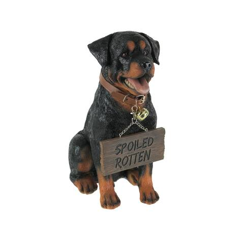 Buddy Rottweiler Guard Dog Indoor Outdoor Statue with Reversible Message Sign - 12.75 X 6.5 X 11.5 inches