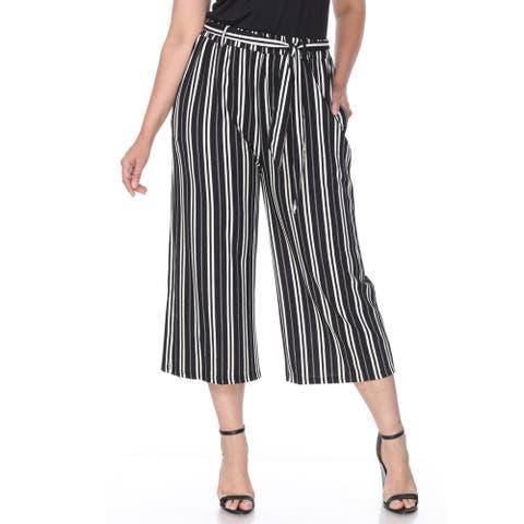Plus Size Gaucho Pants - Black White