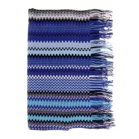 Missoni Blue Long Zigzag Fringe Scarf - 17/20-71