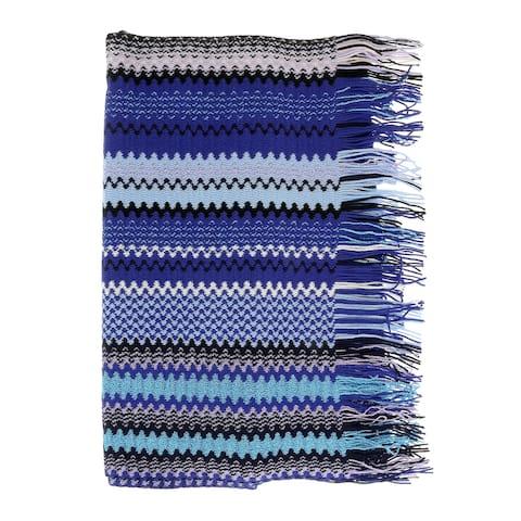 Missoni Blue Long Zigzag Fringe Scarf - 17/20-71
