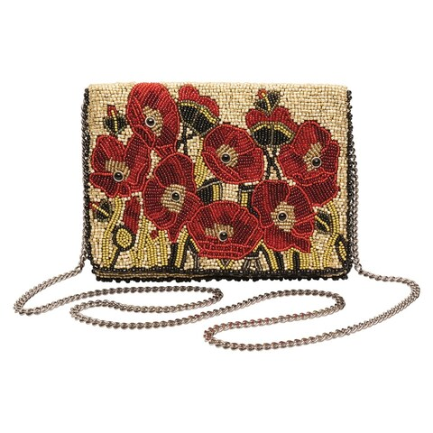 Women's Mary Frances Poppies Beaded Handbag - Red Floral Purse Pocketbook - One size