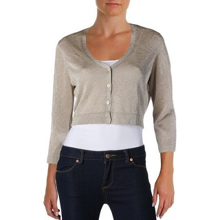Lauren Ralph Lauren Womens Petites Cardigan Top Metallic Long Sleeves