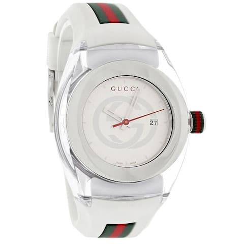 Gucci Women's YA137302 'Sync' Two-Tone Rubber Watch - Silver