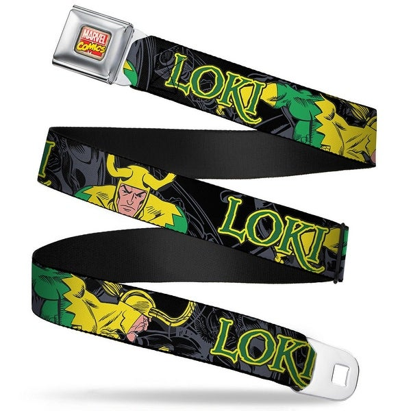 Marvel Comics Marvel Comics Logo Full Color Loki In Action Black Gray Seatbelt Belt