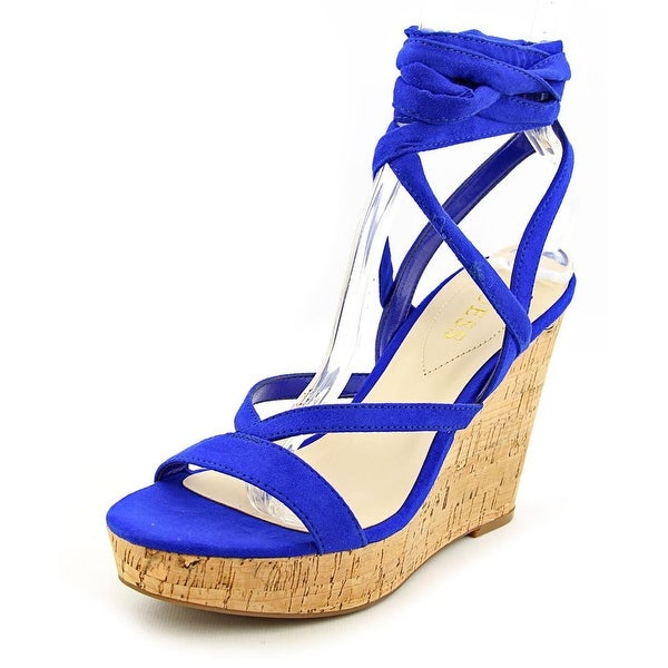 Shop Guess Treacy Women Open Toe Canvas Blue Wedge Sandal - Free ... 9a15ce02bf2d