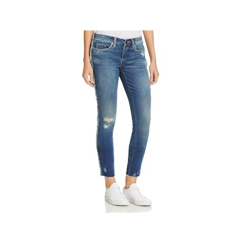 Blank NYC Womens Frays For Days Skinny Jeans Medium Wash Classic Rise